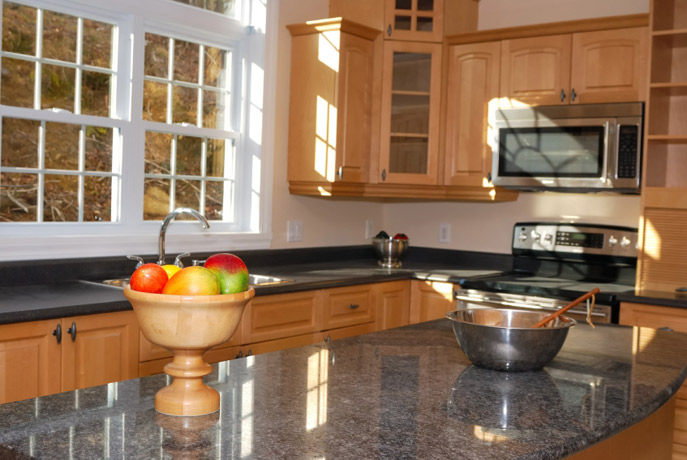 Granite Kitchen Countertop Black Maple Cabinets Fort Wayne ...