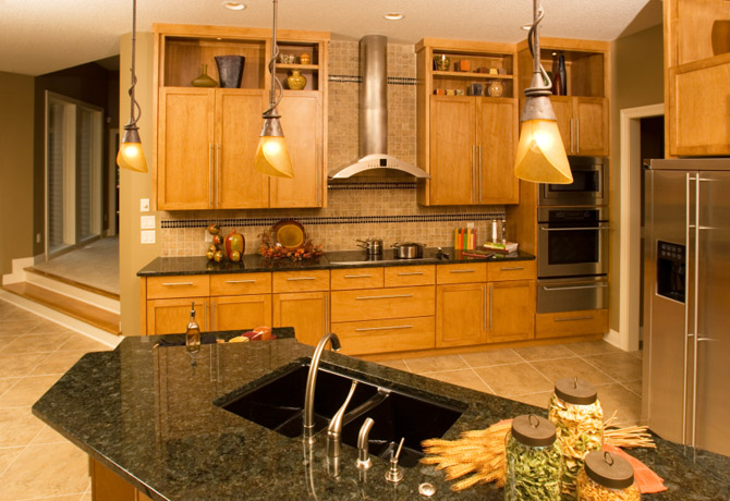 Granite Kitchen Countertop Black Modern Cabinets Fort Wayne MKD Kitchens, IN