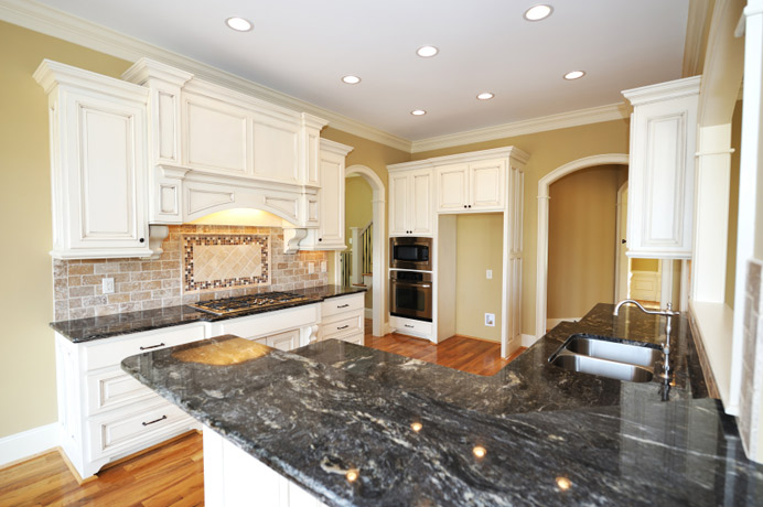 Granite Kitchen Countertop Black White Cabinets Fort Wayne MKD Kitchens, IN