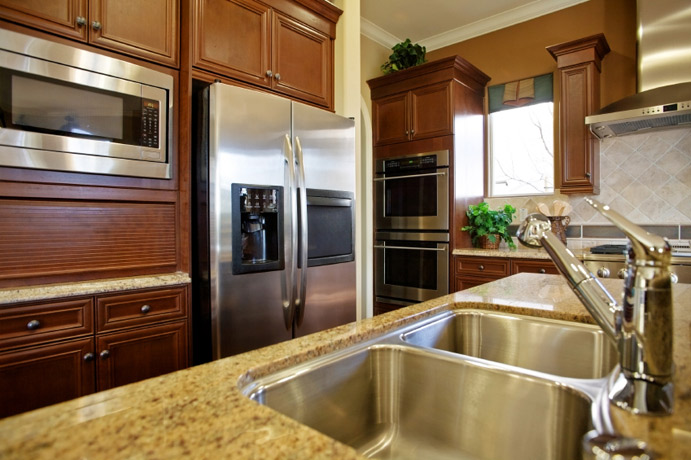Granite Kitchen Countertop Tan Mahogany Cabinets Fort Wayne MKD Kitchens, IN