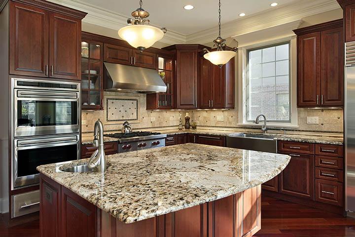 granite countertops kitchen radius island Tampa Florida,