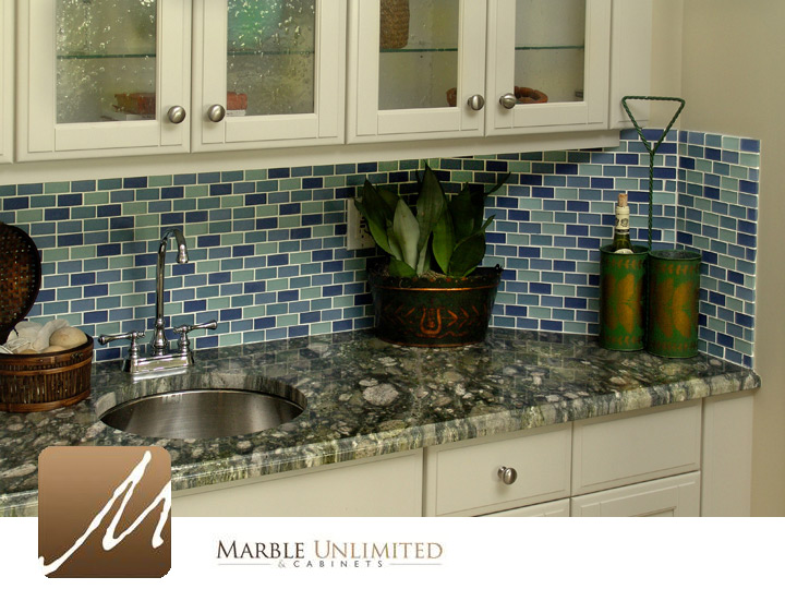 granite counters tile backsplash
