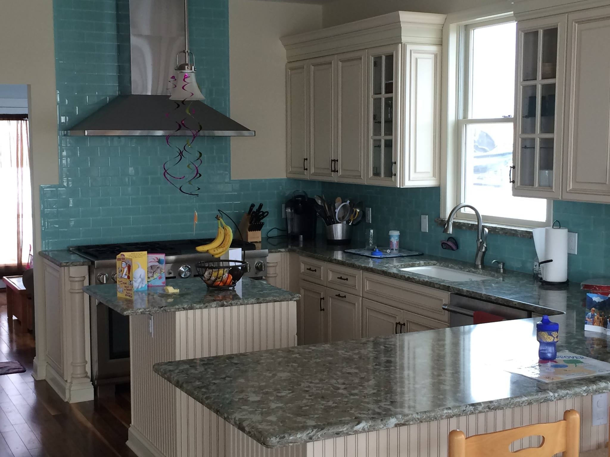 Long Island NY Grey Countertops And Cream Cabinets Kitchen Island  LongIsland ...