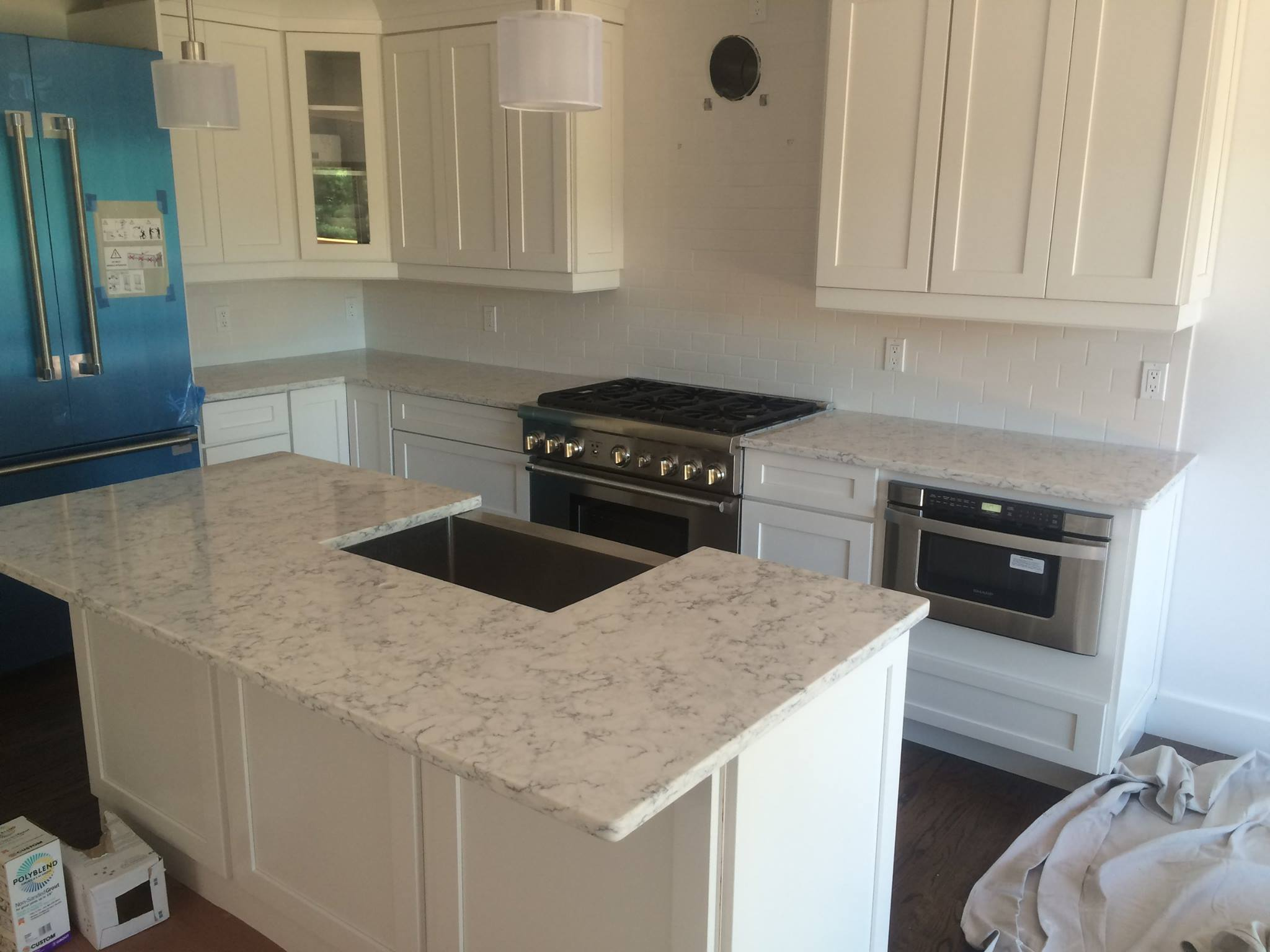 long island NY white countertops and cabinets kitchen island
